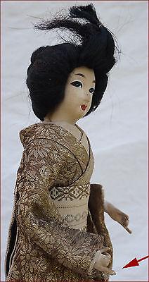 Japanese Geisha Doll Silk Gold Silver Metallic Thread Kimono 4