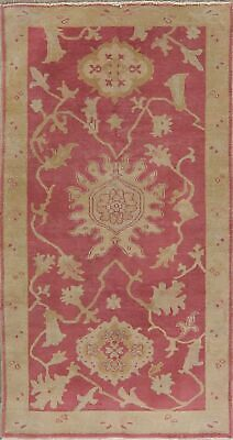 Antique Look PINK Oushak Egyptian All-Over Rug Vegetable Dye Hand-Knotted 3'x5' 2