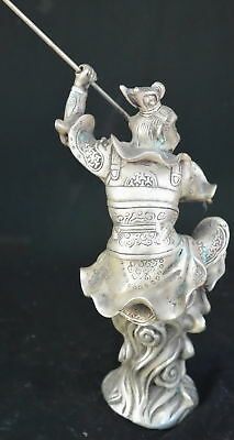 9.15Inch Chinese Ancient Tibet Silver Wear Robe Monkey King Gold Hoop Old Statue 5