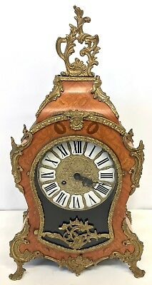 Franz Hermle Inlaid Walnut TING TANG Mantel Bracket Clock Antique Louis XV Style 2