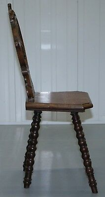 Rare 19Th Century Black Forrest Carved Hall Chair Hand Carved Hawk Bobbin Turned 8