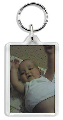 Personalised Photo Keyring Any image &/or text Large size 70 x 45mm Great Gift! 3
