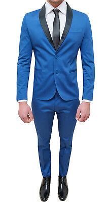1cfedf8050a1c ... Costume Homme Complet Sartoriale Bleu Clair Slim Fit Moulant Smoking  Coton Satin 2