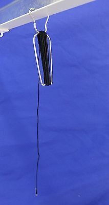 Metal Squeeze-E-Clip w/6' Black Cotton Barbed Cord Ceiling Tile Grid Track Hook 3
