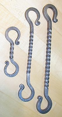 "Wrought Iron 3 1/4 in.,1/4"" square S-Hook Hanger, Hand Forged by Blacksmiths 7"
