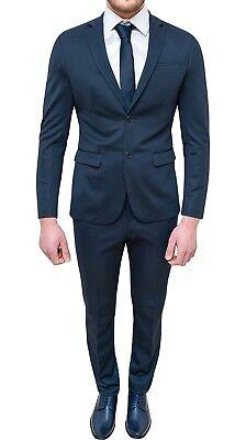 on sale ae36e 8e90e ABITO COMPLETO UOMO blu scuro tessuto elasticizzato slim fit vestito  elegante