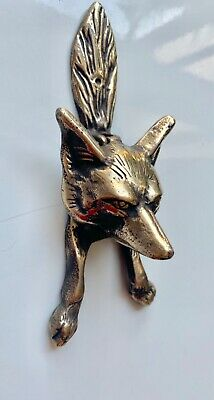 Small FOX front Door Knocker aged bronze patina heavy SOLID heavy 100% BRASS 9