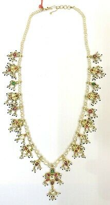 Vintage antique 20K Gold jewelry Diamond Polki Ruby Emerald Pearl Necklace 2