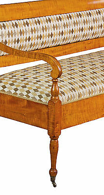 SWC-Vibrant Country/Federal Tiger Maple Settee, New England, c.1810-20 5