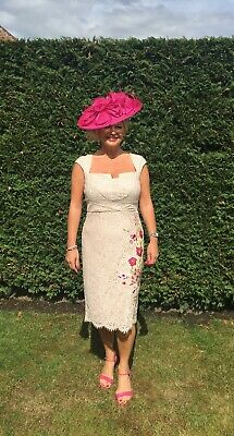 Navy Blue ,girly pink Fascinator.Hatinator disc turned up brim Wedding.races.new 7