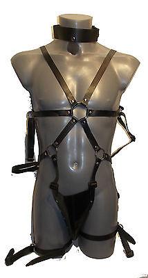 Men's Locking Chastity Belt with 5 Brass Lo-  Size:M-L - Schwarz (413) 4