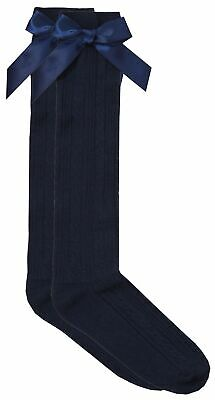 Cottonique Girls Knee High Cable Socks with Ribbon Bow 4