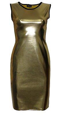 METALLIC SHINY PVC SILVER PINK BLACK GREASE WETLOOK LONG VEST TANK TOP DRESS