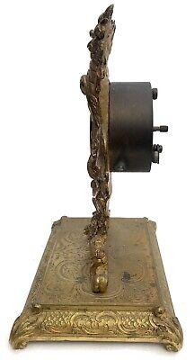 Lovely Antique German Ormolu Strut / Easel Mantel Clock 5