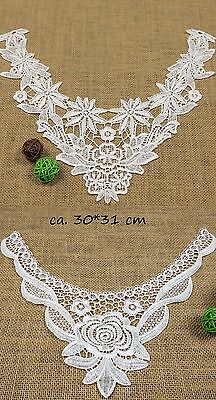 Paar Spitzeneinsatz Spitzenkragen Spitzenbesatz collar lace Einsatz Spitzenband