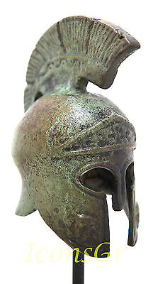 Ancient Greek Bronze Miniature Helmet On Stand Bronze Oxidization 1386-1 4