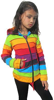 Girls Kids Rainbow Stripe Colorful Hoodie Hippie Bohemian Cute Long Hood Jacket 4