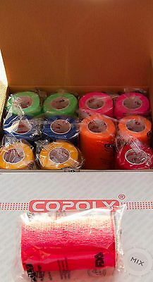 12 ROLLS 5cm/2 inch  Adhesive Elastic Bandages VET WRAP, Bright Colours, Pattern