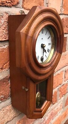 Beautiful Vintage Miniature Drop Dial Wall Clock In Wooden Case With Pendulum 4