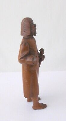 """Wood Carved Ethnic Man with Staff~~7 1/2"""" Tall~~Beaded Eyes~~Stands On His Own 4"""