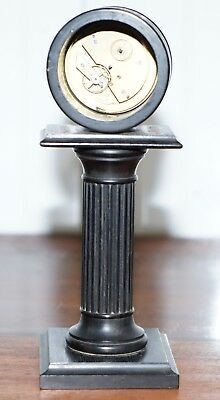 19Th Century Mantle Clock With Pedestal Column Base Hand Painted Porcelain Dial 8