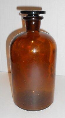 Antike Apothekenflasche braun, mit Glasstopfen, Höhe 21cm, gebraucht, GUT! 6