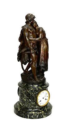 Antique French NAPOLEON III Antony Bailly Bronze Figure Marble Base Mantel Clock 4