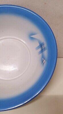 Antiguo Cuenco Emailleschüssel Decoración de Rociadura Azul Blanco Arte 20er Año 3
