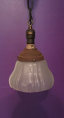 "Great 100 Year Old Pendant Light Vintage Antique 7"" Shade! 3"