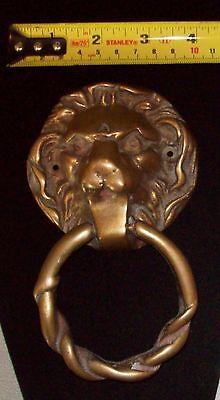 Vintage Brass Lions Head Door Knocker 5