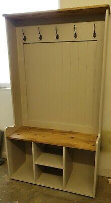 Handmade solid Pine 3ft Hall Stand Shoe Storage Coat Hooks Farrow and Ball 2
