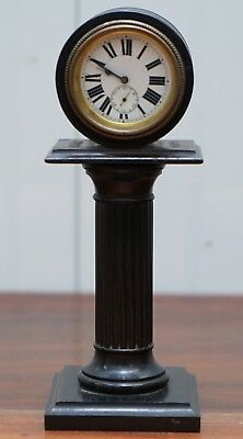 19Th Century Mantle Clock With Pedestal Column Base Hand Painted Porcelain Dial 2