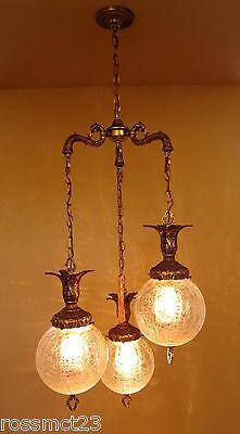 Vintage Lighting 1960s Hollywood Regency tri-globe chandelier   Extraordinary 3