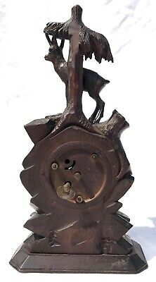 Antique Carved Ibex Black Forest Bracket / Mantel Clock 4