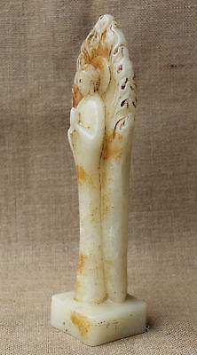 "11/"" China Collect Old White Jade hand Carved stand Sakyamuni Buddha statue"