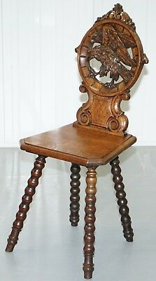 Rare 19Th Century Black Forrest Carved Hall Chair Hand Carved Hawk Bobbin Turned 3