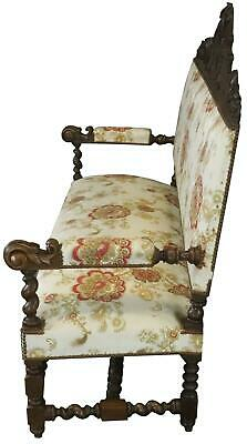 Settee Renaissance Hunting French Antique 1880 Carved Oak  Floral Uph 9