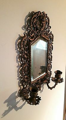 Antique France Style Gold Gilt wall Mirror with 2 Candle Sconces 2