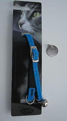 Soft Safety Cat Collar With Bell And Engraved Id Tag Armitage Blue Velvet
