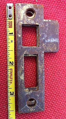4) Four Antique Vtg Mortise Lock Striker Strike Plate Catch Keep Part Jamb Steel 3