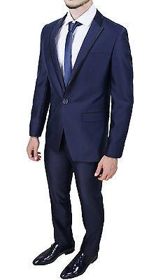 ... Abito Completo Uomo Sartoriale Blu Slim Fit Aderente Smoking Elegante  In Raso 2 d07eaf41519