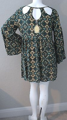 New! Velzera Boho Bohemian Tie Front Empire Waist Tiered Tunic Dress Plus 1XL