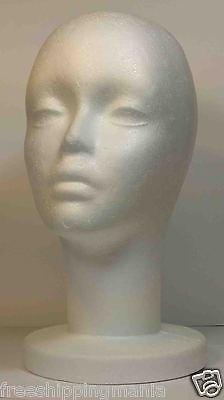 "STUDIO LIMITED 12/"" Styrofoam Mannequin Head White Foam Wig Head Display 1PK"