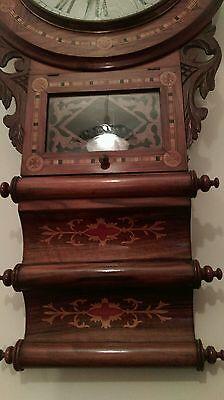 Antique American tunbridgeware inlaid superior 8 day wall clock ornate walnut? 4