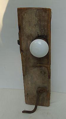 Antique Primitive White Porcelain Door Knob Set w/ Latch + Hook on Door Board 2