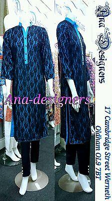 Ethnic Pakistani Designer Shalwar Kameez Soft Net 4pc( Readymade)Stitched-Size=M 2