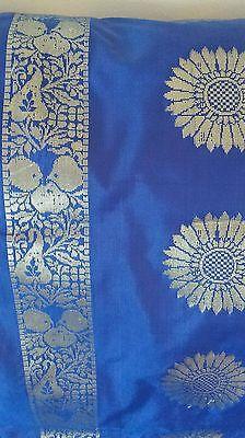 New Pure Soft Silk Royal Blue Gold Floral Zari Saree Sari Party Wedding Bridal 3