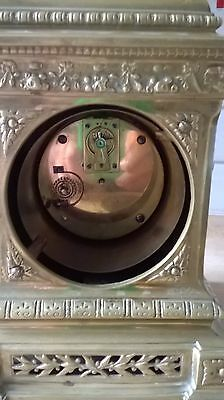 Beautiful ornate brass 8 day clock with 2 keys working nicely decorated solid 6