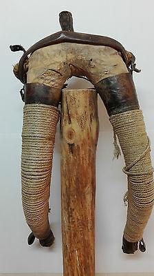 Antigua Collera en piel y cañamo para mula, yugo o collaron. Decoracion rustica. 2