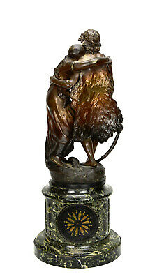 Antique French NAPOLEON III Antony Bailly Bronze Figure Marble Base Mantel Clock 3
